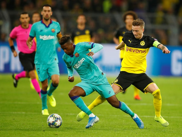 Barcelona's Ansu Fati attempts to keep possession against Borussia Dortmund in the Champions League on September 17, 2019.