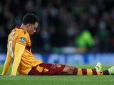 Motherwell's Charles Dunne looks dejectedly at his groin in November 2017