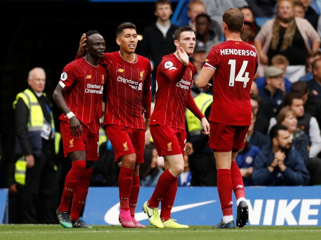 Liverpool celebrate Roberto Firmino's goal against Chelsea in the Premier League on September 22, 2019.