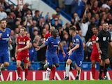 Chelsea celebrate N'Golo Kante's goal against Liverpool in the Premier League on September 22, 2019.