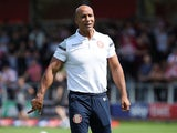 Dino Maamria in charge of Stevenage on August 3, 2019