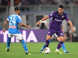 Fiorentina's Riccardo Sottil in action with Napoli's Lorenzo Insigne in Serie A on August 24, 2019