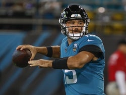 Jacksonville Jaguars quarterback Gardner Minshew (15) throws a pass during the first quarter against the Tennessee Titans at TIAA Bank Field on September 20, 2019