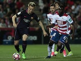 Barcelona midfielder Ivan Rakitic pictured in action against Granada in April 2017
