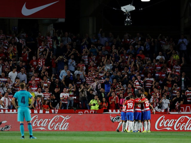 Granada players celebrate Ramon Azeez's goal against Barcelona in La Liga on September 21, 2019