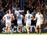 Hull City's Kevin Stewart celebrates scoring their third goal against Luton Town on September 21, 2019