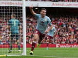 Aston Villa's John McGinn celebrates scoring their first goal against Arsenal on September 22, 2019