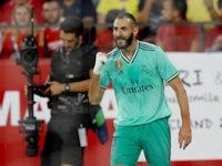 Real Madrid's Karim Benzema celebrates scoring against Sevilla in La Liga on September 22, 2019