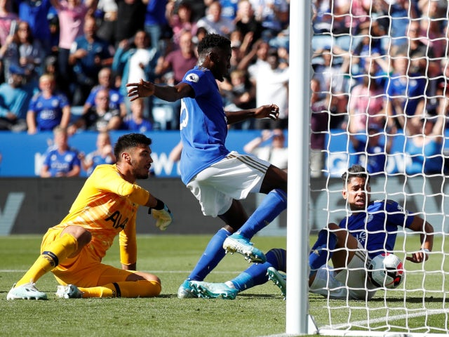 Leicester City's Wilfred Ndidi has goal disallowed against Tottenham Hotspur in Premier League on September 21, 2019.