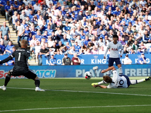 Harry Kane somehow scores for Tottenham Hotspur against Leicester City in the Premier League on September 21, 2019.