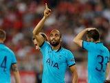 Lucas Moura celebrates scoring for Spurs on September 18, 2019