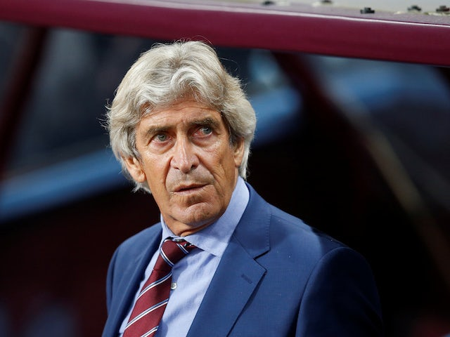 West Ham boss Manuel Pellegrini observes the action on Septemner 16, 2019