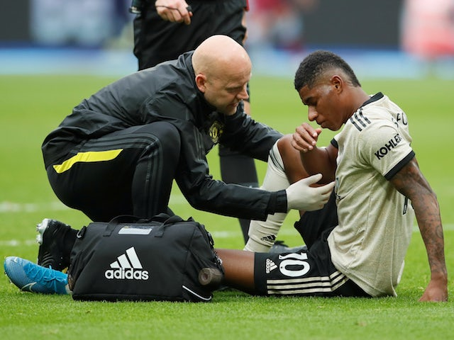 Manchester United's Marcus Rashford picks up an injury during the Premier League clash with West Ham United on September 22, 2019
