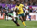 Australia's Marika Koroibete scores their sixth try against Fiji on September 21, 2019