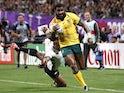 Australia's Marika Koroibete scores their sixth try against Fiji on September 21, 2019