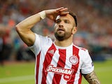 Mathieu Valbuena celebrates scoring for Olympiacos on September 18, 2019
