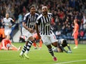 West Bromwich Albion's Matt Phillips celebrates scoring their third goal with Darnell Furlong on September 22, 2019
