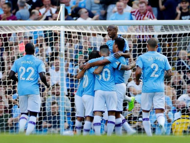 Bernardo Silva celebrates scoring Man City's fourth on September 21, 2019