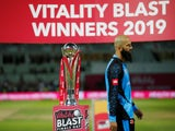 Worcestershire Rapids' Moeen Ali walks past the trophy after losing in the final of the T20 Blast on September 21, 2019