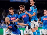 Napoli's Dries Mertens celebrates scoring their first goal with team mates on September 17, 2019