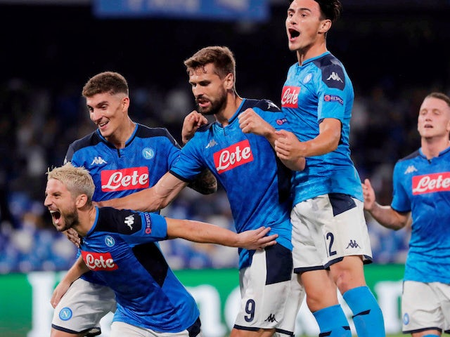 Napoli's Dries Mertens celebrates scoring their first goal with team mates on September 17, 2019