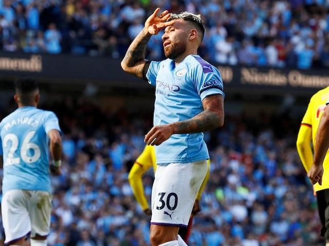 Nicolas Otamendi celebrates scoring Man City's fifth on September 21, 2019