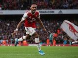Arsenal's Pierre-Emerick Aubameyang celebrates scoring their third goal on September 22, 2019