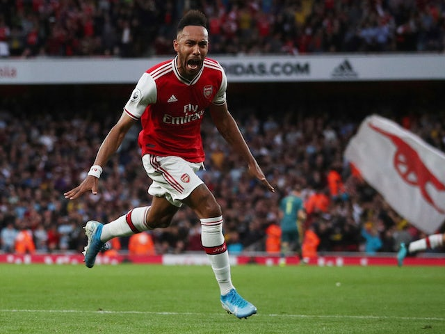 Arsenal's Pierre-Emerick Aubameyang celebrates scoring their third goal on September 22, 2019