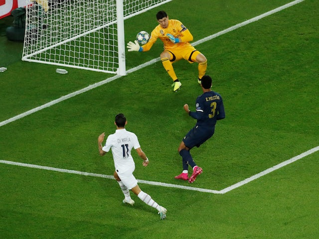 Paris Saint-Germain's Angel Di Maria scores against Real Madrid in the Champions League on September 18, 2019