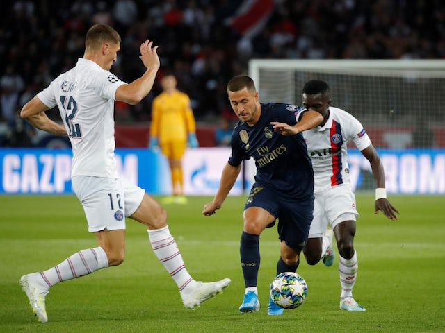 Real Madrid's Eden Hazard in action against Paris Saint-Germain in the Champions League on September 18, 2019