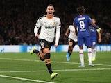 Valencia's Rodrigo Moreno celebrates scoring their first goal on September 17, 2019