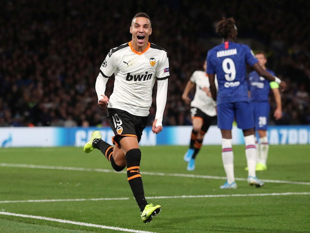 Valencia's Rodrigo Moreno celebrates scoring their first goal on September 17, 2019