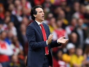 Arsenal manager Unai Emery gestures during the match against Aston Villa on September 22, 2019