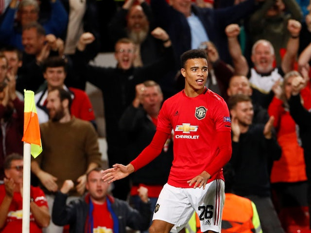 Manchester United's Mason Greenwood celebrates scoring against Astana in the Europa League on September 19, 2019