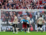 West Ham United's Andriy Yarmolenko scores against Manchester United in the Premier League on September 22, 2019