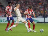 Real Madrid's Toni Kroos in action with Atletico Madrid's Joao Felix in La Liga on September 28, 2019
