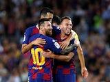 Barcelona celebrate Arthur's goal against Villarreal in La Liga on September 24, 2019.