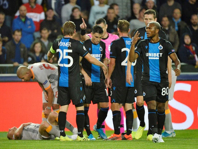 Club Brugge players in action during their Champions League clash with Galatasaray on September 18, 2019