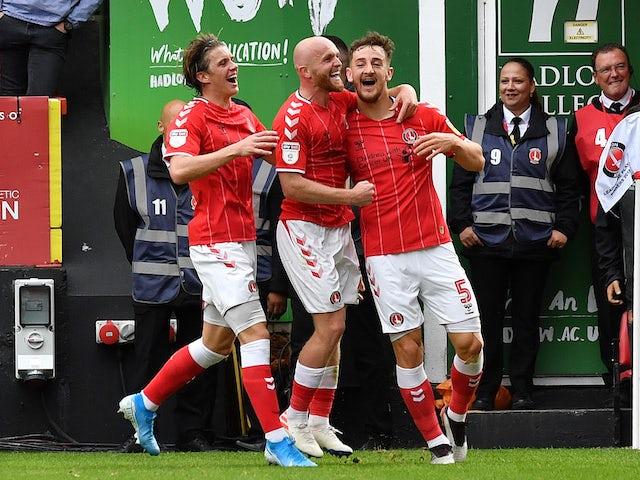 Macauley Bonne celebrates scoring for Charlton on September 28, 2019
