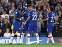 Chelsea's Michy Batshuayi celebrates scoring their second goal against Grimsby with teammates on September 25, 2019