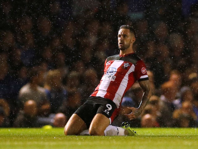 Southampton's Danny Ings celebrates scoring their first goal against Portsmouth on September 24, 2019