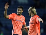 Everton's Tom Davies and Dominic Calvert-Lewin wave to fans at the end of the match against Sheffield Wednesday on September 24, 2019