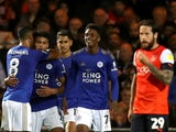 Leicester City's James Justin celebrates scoring their second goal with teammates against Luton on September 24, 2019