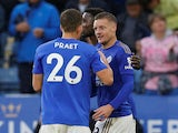 Leicester City's Jamie Vardy celebrates scoring their fourth goal with teammates against Newcastle on September 29, 2019