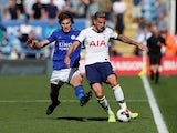 Leicester City's Caglar Soyuncu in action with Tottenham Hotspur's Toby Alderweireld in the Premier League on September 21, 2019