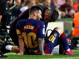 Barcelona's Lionel Messi is attended by medical staff after sustaining an injury against Villarreal on September 24, 2019