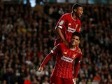 Liverpool's Ki-Jana Hoever celebrates scoring their second goal with Rhian Brewster on September 25, 2019