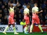 Manchester City's Raheem Sterling celebrates scoring their first goal against Preston on September 24, 2019