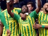 Nathan Ferguson celebrates scoring for West Bromwich Albion on September 28, 2019