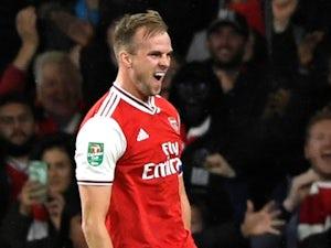 Rob Holding celebrates scoring for Arsenal on September 24, 2019